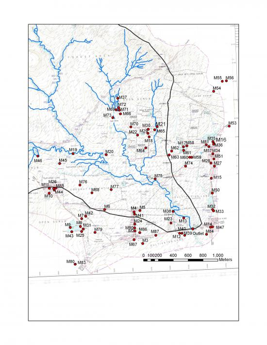 Figure 5. Map showing all the water (surface or groundwater) sampling sites for Maddur watershed.