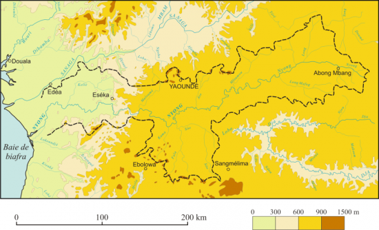Figure 1. Oro-hydrography of the Nyong watershed