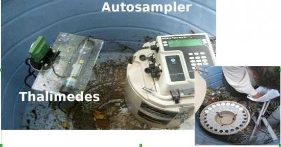Figure 2. Auto-sampler and Thalimedes used in the monitored watersheds