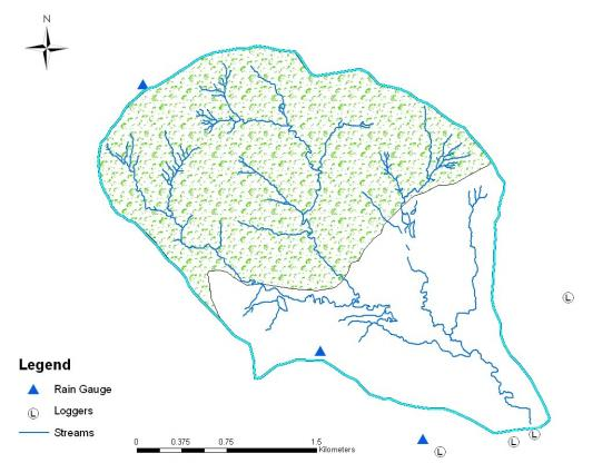 Figure 4. Map showing the locations of rain gauge and data loggers for Maddur watershed